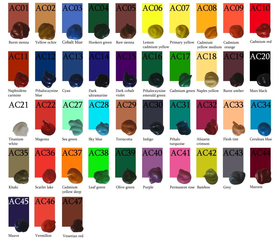 les acryliques couleurs classiques
